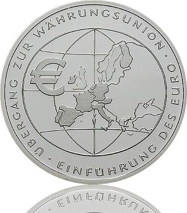 Gedenkmünzen 10 Euro Übergang zur Währungsunion-Einführung des Euro 2002