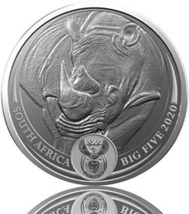 Big Five Nashorn 1 oz Silber 2020 im Blister (3. Motiv)