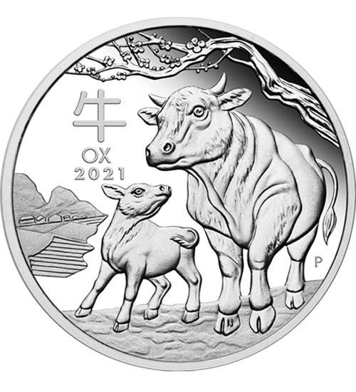 Silber Lunar Serie III 1000 g 2021 Ochse
