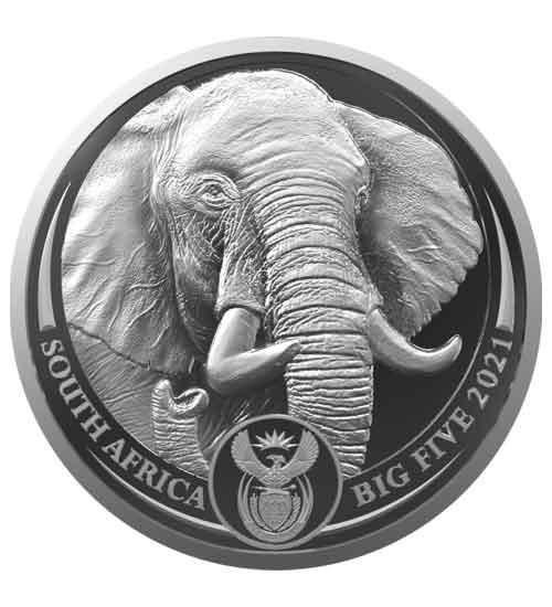 Big Five 2. Serie Elefant 1 oz Silber 2021  im Blister (1. Motiv)