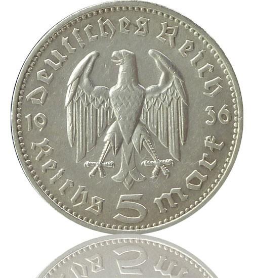 """5 Reichsmark RM """"Hindenburg"""" 1935-1936 J. 360"""