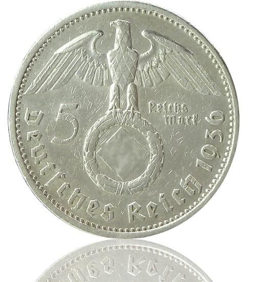 """5 Reichsmark RM """"Hindenburg mit HK"""" 1936-1939 J. 367"""