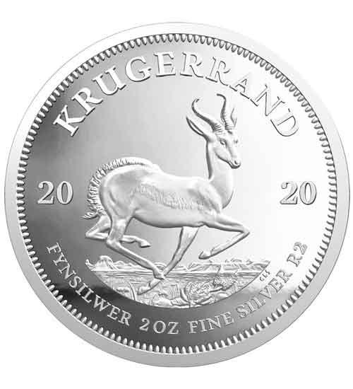 Krügerrand 2 oz Silber 2020 PP