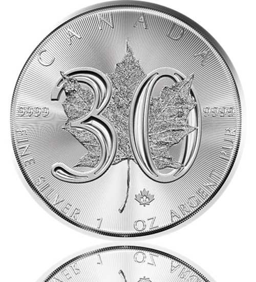 Maple Leaf 30 Jahre Jubiläumsausgabe Silber 1 oz 1988-2018