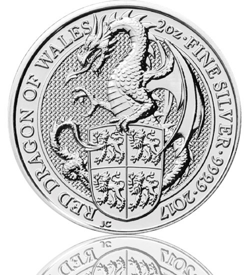 The Queen's Beast - Red Dragon of Wales 2 oz 2017