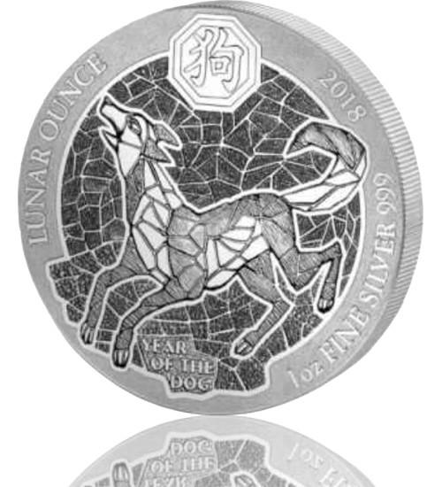 1 oz Ruanda Lunar Serie Silber 2018 Hund