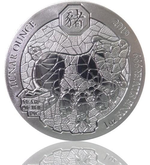 1 oz Ruanda Lunar Serie Silber 2019 Schwein