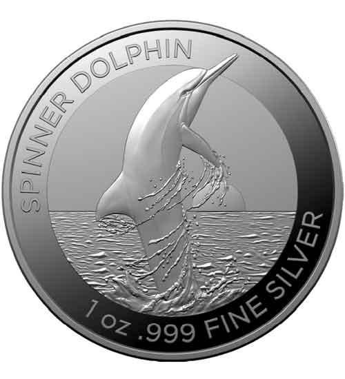 Dolphin RAM Silbermünze 1 oz 2020 Spinner Dolphin (Delfin)