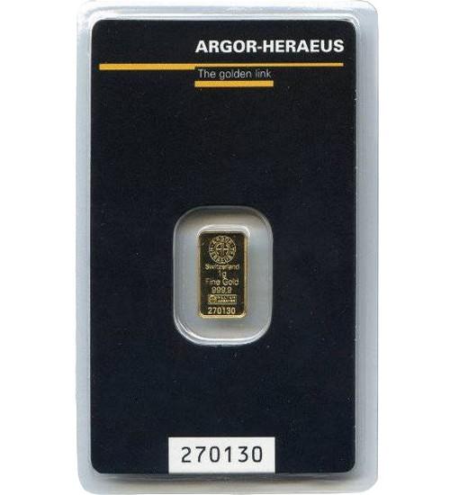 Argor-Heraeus Gold-Barren 1 g Scheckkarte LBMA-zertifiziert
