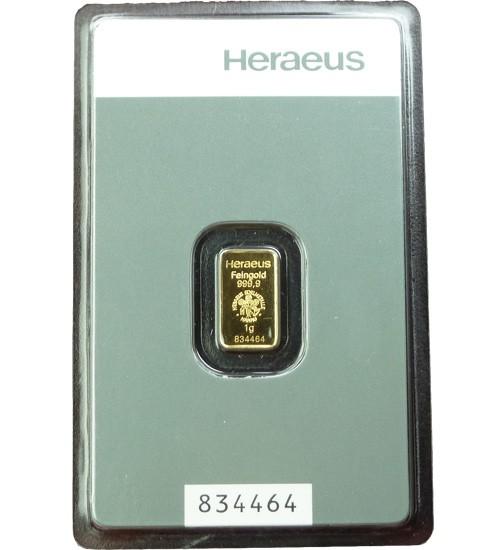 Heraeus Gold-Barren 1 g Kinebar Scheckkarte LBMA-zertifiziert