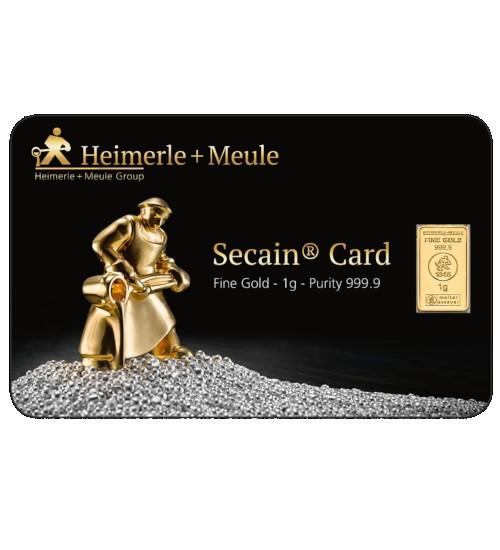 Heimerle + Meule Secain Gold-Barren 1 g Scheckkarte LBMA-zertifiziert