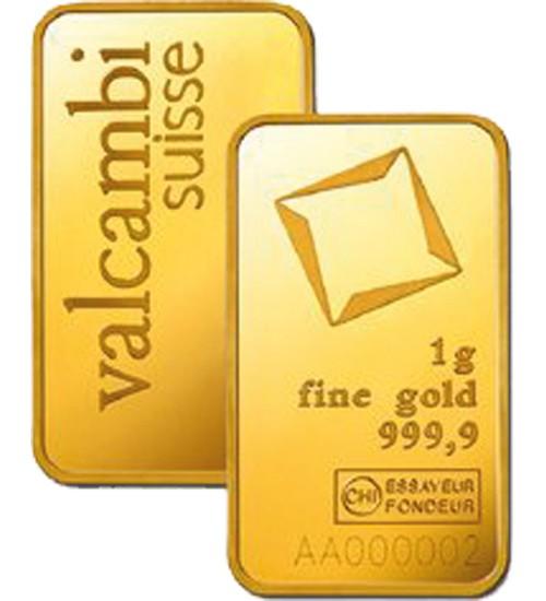 Valcambi Gold-Barren 1 g Scheckkarte LBMA-zertifiziert