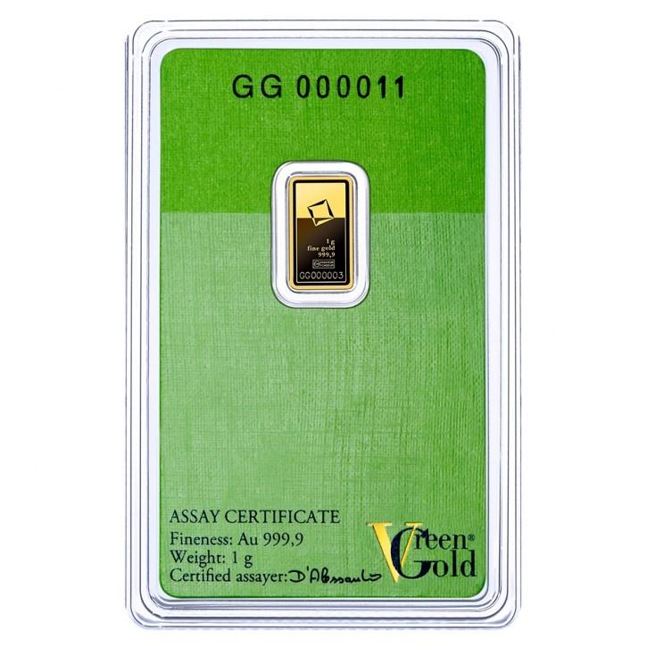Valcambi Gold-Barren 1 g Scheckkarte LBMA zertifiziert - Green Gold