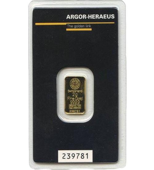Argor-Heraeus Gold-Barren 2 g Scheckkarte LBMA-zertifiziert
