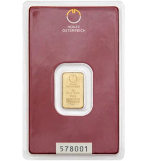 Gold-Barren 2 g Münze Österreich Scheckkarte LBMA-zertifiziert