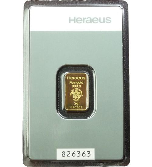Heraeus Gold-Barren 2 g Kinebar Scheckkarte LBMA-zertifiziert