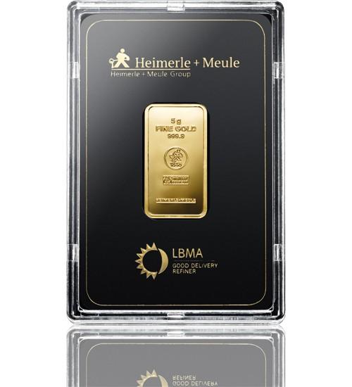 Heimerle & Meule Gold-Barren 5 g LBMA zertifiziert Scheckkarte