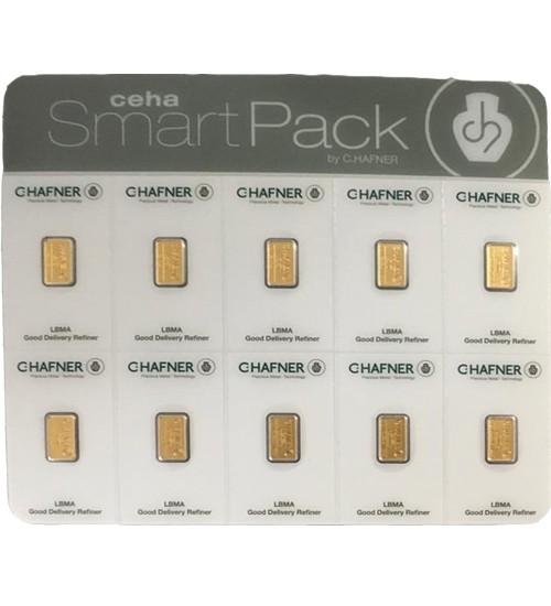 10 x 1 g ceha Smartpack Gold-Barren von C.Hafner