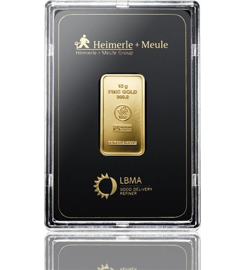 Heimerle & Meule Gold-Barren 10 g LBMA zertifiziert Scheckkarte