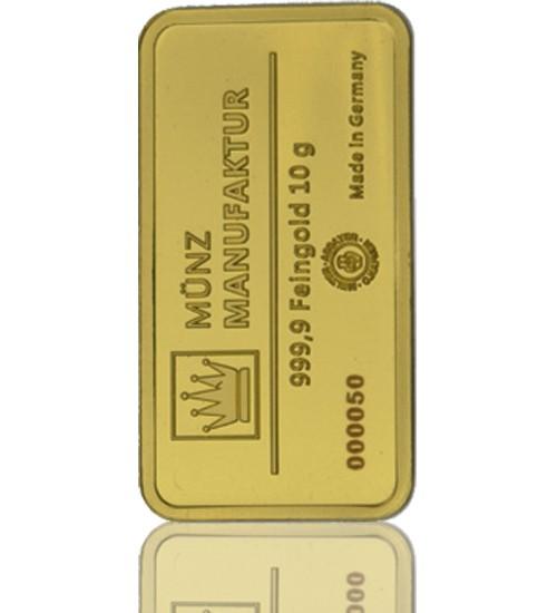 Gold-Barren 10 g MünzManufaktur Blister