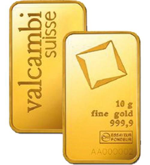 Valcambi Gold-Barren 20 g Scheckkarte