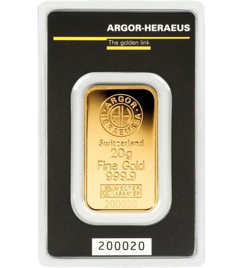 Argor-Heraeus Gold-Barren 20 g Scheckkarte LBMA-zertifiziert