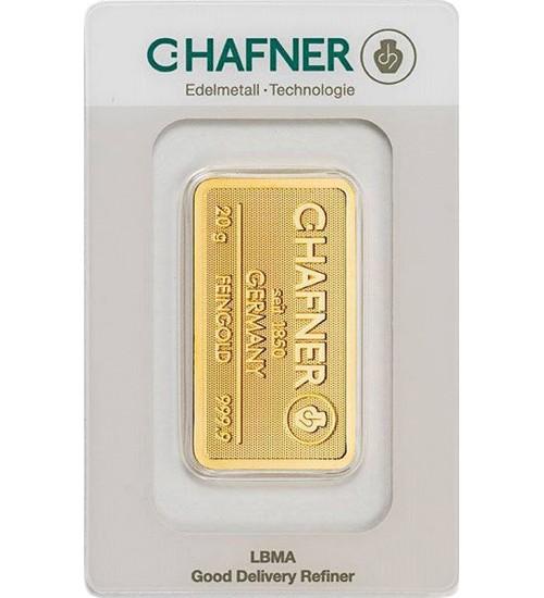 C.Hafner Gold-Barren 20 g Scheckkarte LBMA-zertifiziert