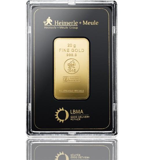 Heimerle & Meule Gold-Barren 20 g LBMA zertifiziert Scheckkarte