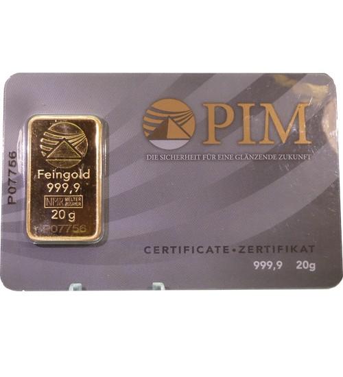PIM Gold-Barren 20 g Scheckkarte (LBMA-zertifiziert)