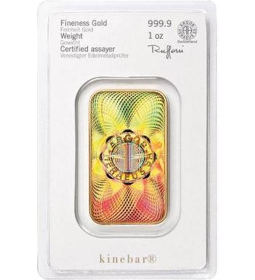 Heraeus Gold-Barren 1 oz / 31,1g Kinebar Scheckkarte LBMA-zertifiziert