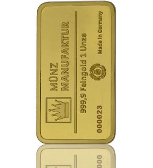Gold-Barren 1 oz (31,1 g) MünzManufaktur-Blister