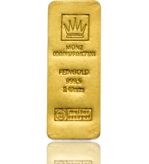 MünzManufaktur Gold-Barren 1 oz / 31,1 g Recycling Gussbarren