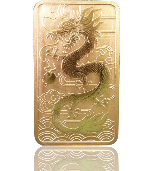 1 oz Gold Motiv-Barren 2018 Drache Perth Mint