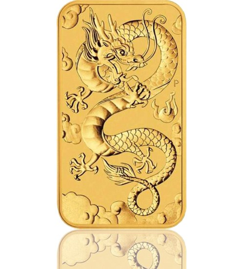 1 oz Gold Motiv-Barren 2019 Drache Perth Mint Rectangle