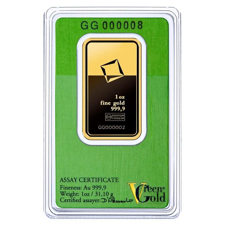 Valcambi Gold-Barren 1 oz / 31,1g Scheckkarte LBMA-zertifiziert Green Gold