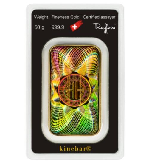 Argor-Heraeus Gold-Barren 50 g Scheckkarte LBMA zertifiziert Kinebar