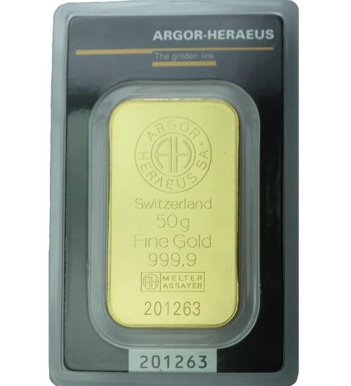 Argor-Heraeus Gold-Barren 50 g Scheckkarte, LBMA-zertifiziert
