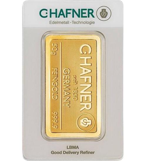 C.Hafner Gold-Barren 50 g Scheckkarte, LBMA-zertifiziert