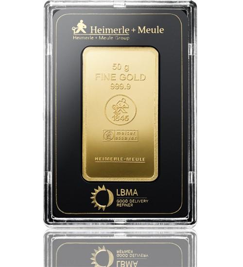 Heimerle & Meule Gold-Barren 50 g LBMA zertifiziert Scheckkarte