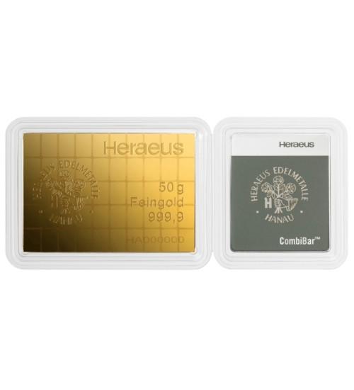 Heraeus Gold-Barren 50 x 1 g Combibar LBMA zertifiziert