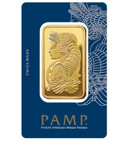 Pamp Fortuna Gold-Barren 50 g LBMA Scheckkarte zertifiziert