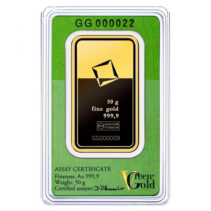 Valcambi Gold-Barren 50 g Scheckkarte LBMA zertifiziert - Green Gold