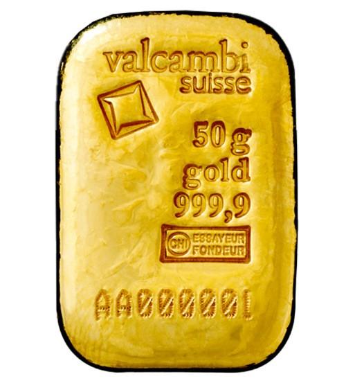 Valcambi Gold-Barren 50 g LBMA zertifiziert Gussbarren