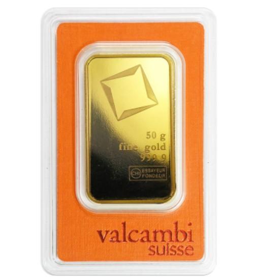 Valcambi Gold-Barren 50 g Scheckkarte LBMA zertifiziert