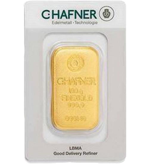 C.Hafner Gold-Barren 100 g Scheckkarte, gegossen, LBMA-zertifiziert