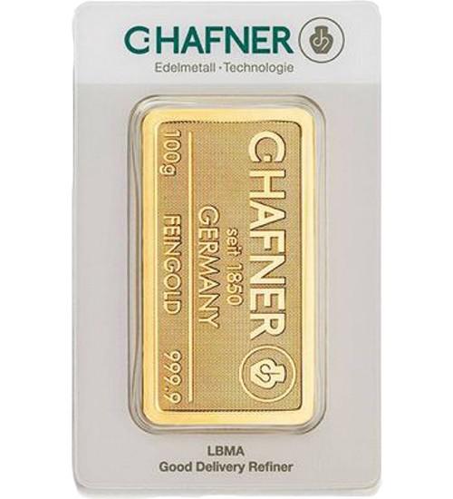C.Hafner Gold-Barren 100 g Scheckkarte, LBMA-zertifiziert