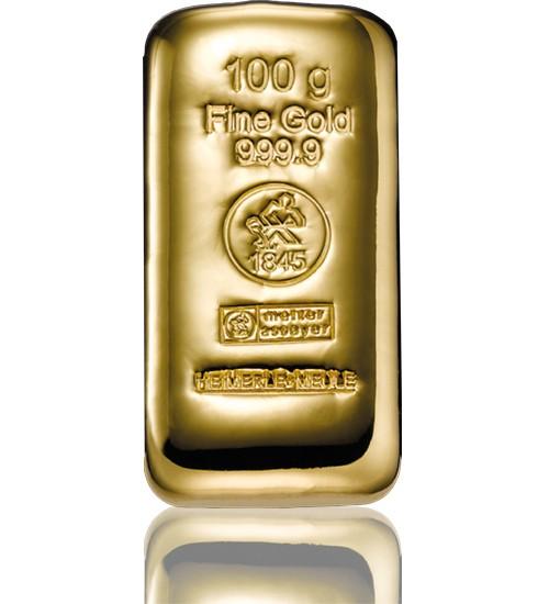 Heimerle & Meule Gold-Barren 100 g LBMA zertifiziert Gussbarren