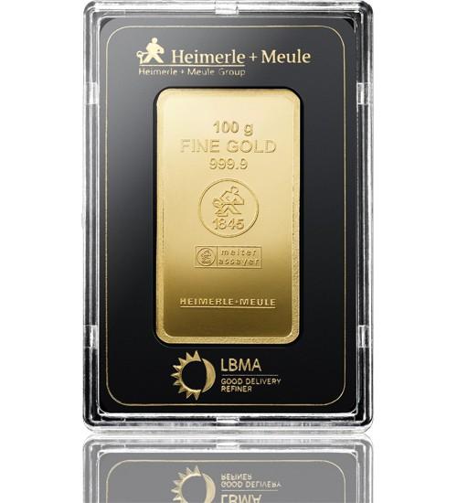 Heimerle & Meule Gold-Barren 100 g LBMA zertifiziert Prägebarren