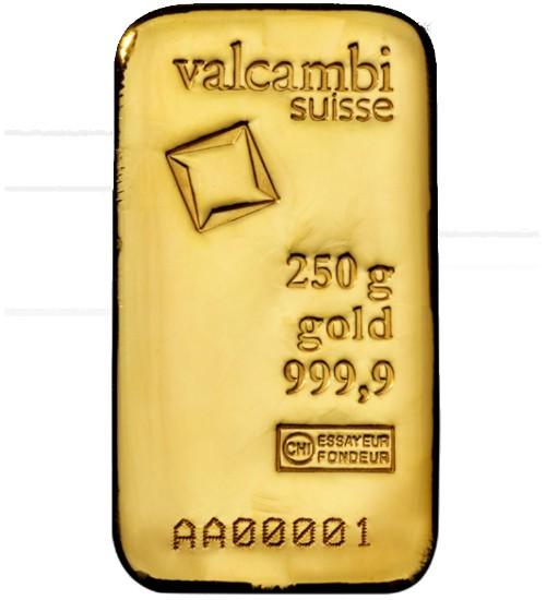 Valcambi Goldbarren 250 g eingeschweißt mit Zertifikat