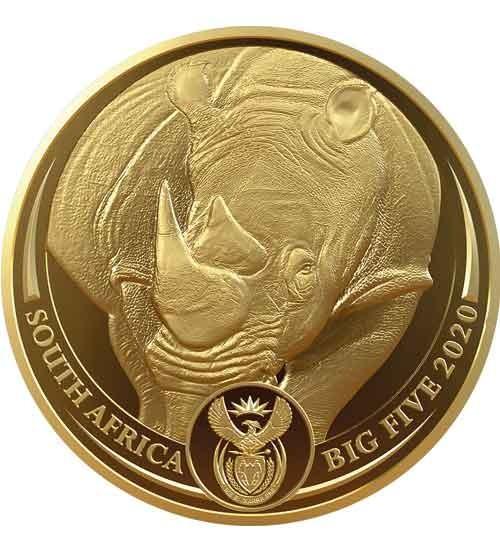Big Five Nashorn 1 oz Gold 2020 PP (3. Motiv)